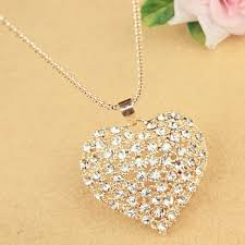 chain necklace heart images Sweet cute rhinestone heart pendant women 39 s sweater chain necklace jpg