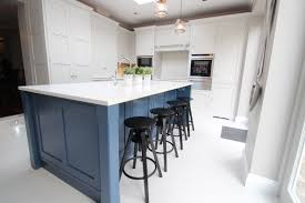 bespoke kitchen islands create a focal point with colour this blue handpainted island