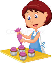 how to make a cake for a girl vector illustration of girl cooking cake stock
