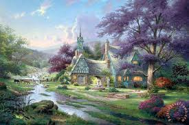 kinkade clocktower cottage painting clocktower cottage