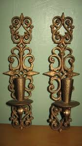 Gold Wall Sconce Candle Holder Large Vintage Gold Mid Century Hollywood Regency Ornate Wall