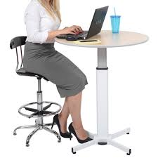 Pneumatic Height Adjustable Desk by Luxor Lx Pnadj Round 31 1 2