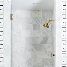 horizontal polished brass shower door handle transitional bathroom