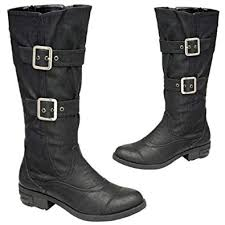 boots uk wide fit womens manfield faux leather black biker style wide fit