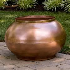 Low Bowl Planters by Copper Bowl Planter With Decorative Band Outdoor