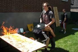 backyard wrestling flaming table match the bruiser u0026 agent exile