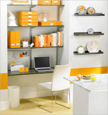 decorate office shelves decorating stunning white wall with orange accent color small home