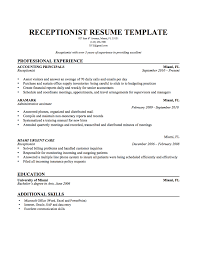 Resume Examples by Sample Receptionist Resume Free Resume Example And Writing Download
