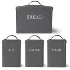 garden trading bread bin and tea coffee sugar canister charcoal