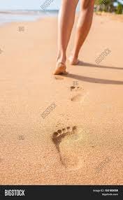 Sand Beach by Beach Sand Footprints Woman Feet Walking Barefoot Travel