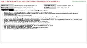 Production Operator Resume Sample by Wire Taping Machine Operator Resume Sample