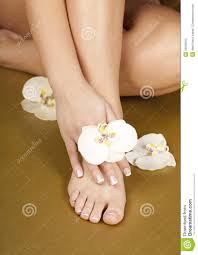 foot after pedicure and french manicure nails stock photography