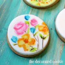 watercolor painted cookies and cupcakes