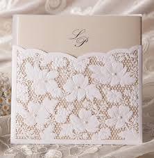 Pocket Wedding Invites Aliexpress Com Buy Laser Cut Flower Lace Pocket Wedding