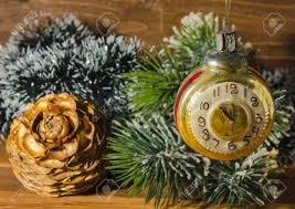 fashioned christmas tree retro clock with fashioned christmas tree decorations stock
