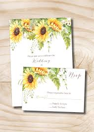 Wedding Invitations With Response Cards Summer Sunflower Wedding Invitation Response Card Invitation