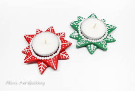 christmas tea light candle holders tea light holders candle base polymer clay handmade christmas