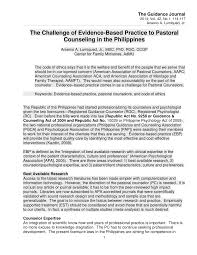 Counseling Code Of Ethics Philippines The Challenge Of Evidence Based Practice To Pastoral Counseling In