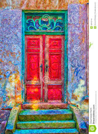 Red Door Paint by Red Door Green Frame Digital Painting Stock Illustration Image