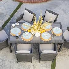 All Weather Wicker Patio Dining Sets - 7 piece nathaniel patio dining set in grey joss u0026 main