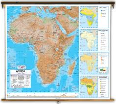 Africa Maps by Advanced Africa Physical Classroom Map On Spring Roller