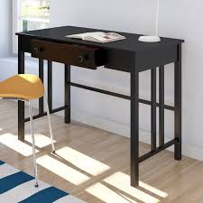 small black writing desk small rectangular black writing desk with drawer in minimalist