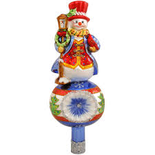 Bethlehem Lights Snowman by Snowman With Cardinal And Lantern Glass Tree Topper Bronner U0027s