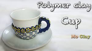 diy polymer clay decoration cup tutorial youtube
