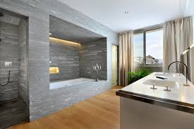 striking interior grey bathrooms design with grey marble wall tile