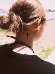 cross on side of neck tattooic