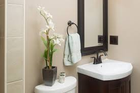 modern decorating ideas for guest bathroom with curved brown