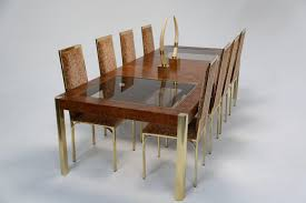 mid century dining table burl and brass by century furniture