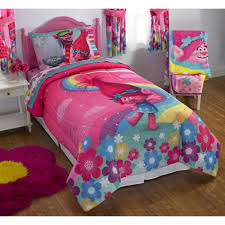 Comforters From Walmart Dreamwork U0027s Trolls Poppy Reversible Twin Full Bedding Walmart Com