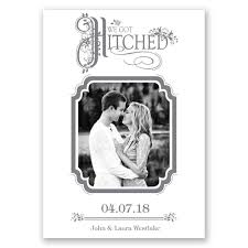 hitched wedding announcement invitations by