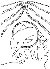 dolphin coloring pages for happy birthday coloring pages