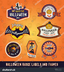 halloween lables set halloween badge label frames design stock vector 313928162