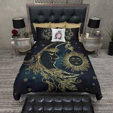Stars Duvet Cover Boho Midnight Black And Teal With Gold Sun Moon And Stars Bedding