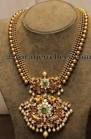 beaded pendant necklace designs images Gold beads chain with nakshi pendant pinterest chains jpg