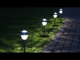 4 white led solar stake lights