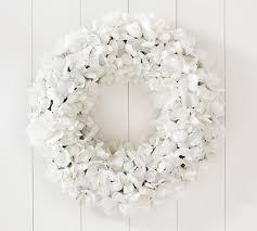 hydrangea wreath faux hydrangea wreaths pottery barn