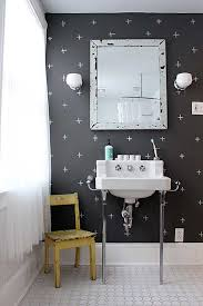 powder room color ideas with black color walls and white curtains