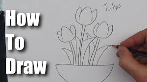 flower in vase drawing how to draw a tulip flower step by step youtube