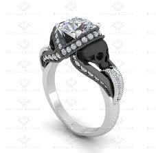skull wedding ring sets all white diamond skull sterling silver ring set