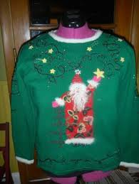 tacky cheap sweater with bling reindeer and santa