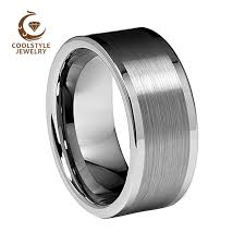 mens comfort fit wedding bands 10mm 12mm flat pipe brushed polished edges men s tungsten carbide