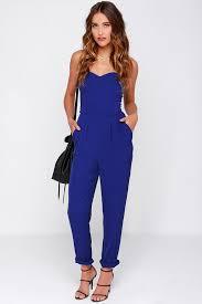 royal blue jumpsuit blue jumpsuit strapless jumpsuit 43 00