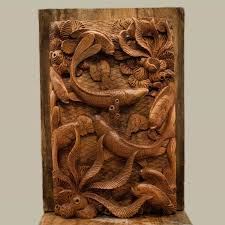 bali relief panels fish coral bali wood carving cotswold