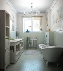 interior cozy white theme small bathroom with white wooden bath