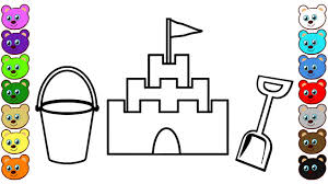 Learn Colors For Kids With Sand Castle Bucket Shovel Coloring Sandcastle Coloring Page