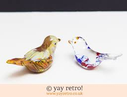 pair glass bird ornaments vintage shop retro china glassware